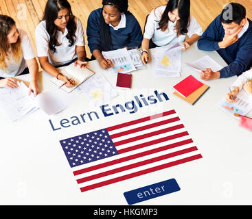 Learn English Language Online Education Concept - Stock Photo