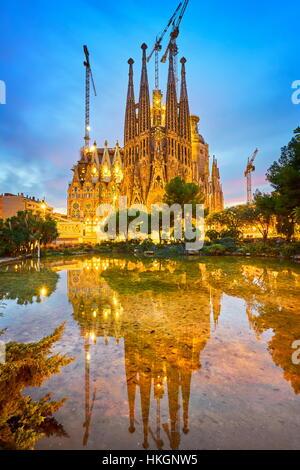 Sagrada Familia Cathedral design by Antoni Gaudi, Barcelona, Catalonia, Spain - Stock Photo