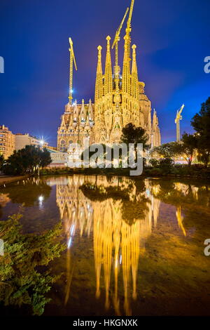 Sagrada Familia Cathedral design by Antoni Gaudi, night scenery, Barcelona, Spain - Stock Photo