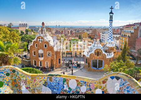 Park Guell by Antoni Gaudi, Barcelona, Spain - Stock Photo
