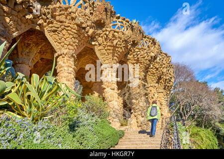 Park Guell by Antoni Gaudi, Barcelona, Catalonia, Spain - Stock Photo