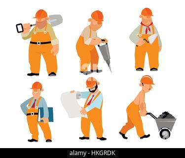Vector illustration of a six builders set - Stock Photo