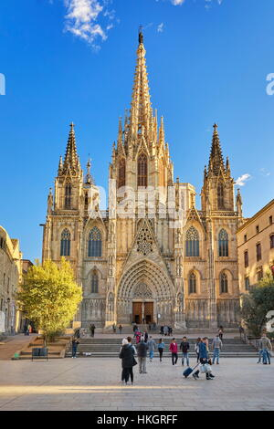Barcelona Cathedral, Barri Ghotic Quarter, Catalonia, Spain - Stock Photo