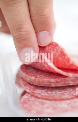 salami slices. pork, meat, food, finger. - Stock Photo