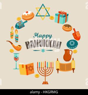 Happy Hanukkah card template or banner or flyer. - Stock Photo
