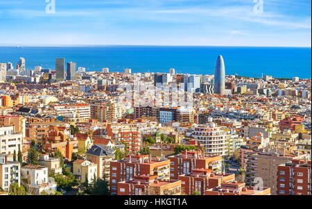 Aerial panorama view of Barcelona city, Spain - Stock Photo