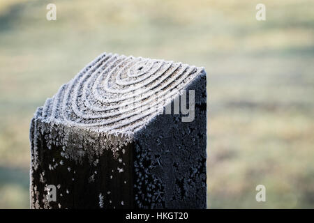Close up of frost on the ridges of a fence post - Stock Photo