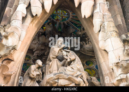 Sagrada Família by Antoni Gaudí in Barcelona. Catalonia, Spain. - Stock Photo
