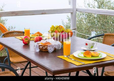 healthy breakfast on table - Stock Photo