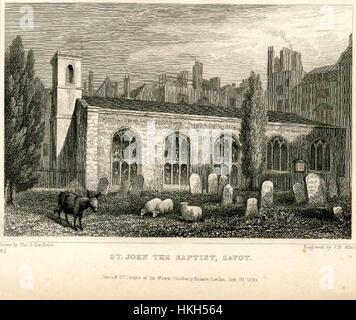 Savoy Chapel Thomas Hosmer Shepherd 1830 - Stock Photo