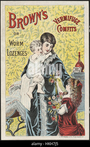 Brown's Vermifuge Comfits or worm lozenges (front) - Stock Photo