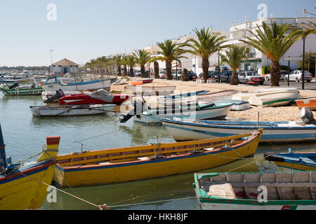 Harbour and seafront of fishing village known as capital of octopus (capital do Polvo), Santa Luzia, Algarve, Portugal, - Stock Photo