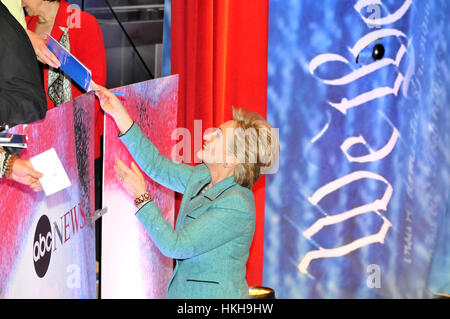 Democratic presidential hopeful Hillary Clinton greets supporters at debate the National Constitution Center on - Stock Photo