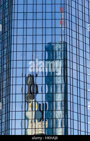 Frankfurt am Main: Commerzbank Tower and Maintower are reflected in one of the Deutsche Bank towers, Banken, Hessen, - Stock Photo