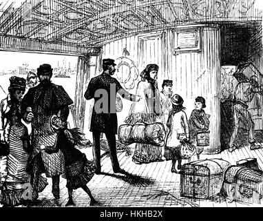 1879: Passengers arriving on board the Cunard SS 'Scythia' anchored in the River Mersey, Liverpool, England prior - Stock Photo