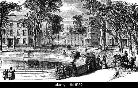 1879: Washington Square where it meets Fifth Avenue, New York City, United States of America. - Stock Photo