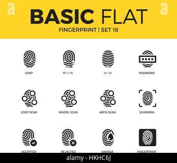Basic set of Fingerprint icons - Stock Photo