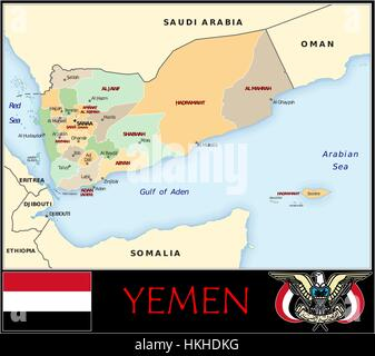 Yemen administrative divisions - Stock Photo