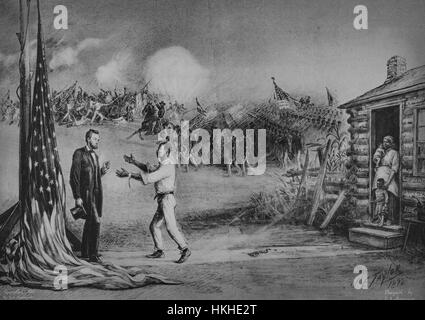 Illustration depicting a a slave with shackles on the ground behind him, his family looking on, appealing to Abraham - Stock Photo