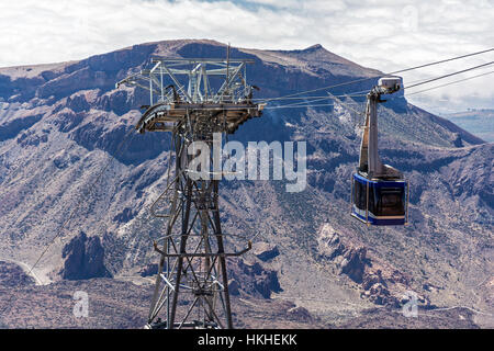 Cabin cable car for tourists visiting the observation deck of the volcano Teide on Tenerife island - Stock Photo