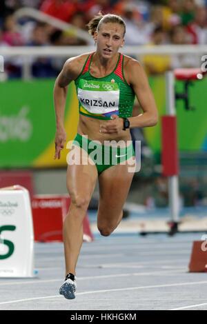 Rio de Janeiro, Brazil. 12 August 2016.  Athletics, Xenia Kriszan (HUN) competing in the Women's Heptathlon 200m - Stock Photo