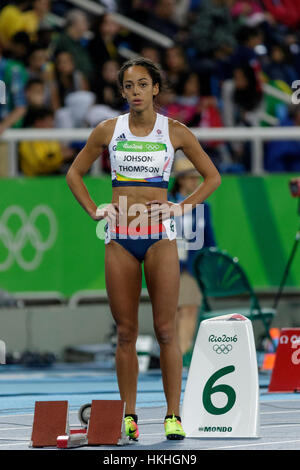 Rio de Janeiro, Brazil. 12 August 2016.  Athletics, Katarina Johnson-Thompson (GBR) competing in the Women's Heptathlon - Stock Photo