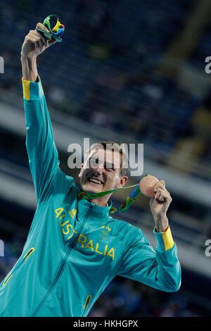 Rio de Janeiro, Brazil. 12 August 2016.  Dane Bird-Smith (AUS) bronze medal winner in the Men's 20km Walk at the - Stock Photo