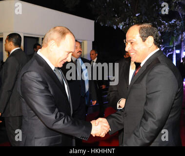 Cairo, Egypt - 9 February 2015 - Russian President Putin visits the Cairo Tower with Egyptian President Abdel Fattah - Stock Photo