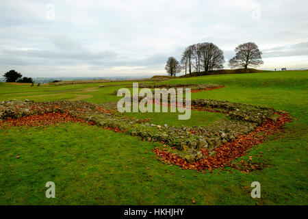The ruins of the old cathedral within the grounds of Old Sarum, Salisbury stand in winter amidst red fallen leaves - Stock Photo
