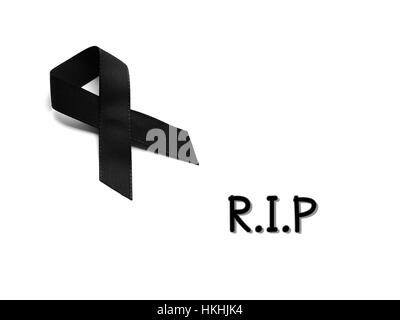 Black Ribbon For Mourning With Rest In Peace Text On White