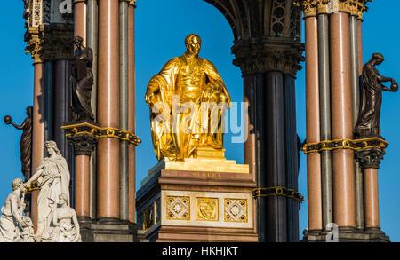Winter sun on the Albert Memorial, Hyde Park, London, UK - Stock Photo