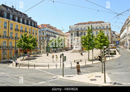 LISBON, PORTUGAL - MAY 15, 2011: Praca Luis de Camoes - Square of Luis de Camoes, named after a great portuguese - Stock Photo