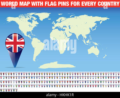 Blank vector map and flag pins of every country in the world - Stock Photo