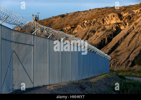 EL PASO, TX -  Colin McDonald walks inside the border fence in El Paso, Texas. SEPTEMBER 15, 2014 CREDIT: Erich - Stock Photo
