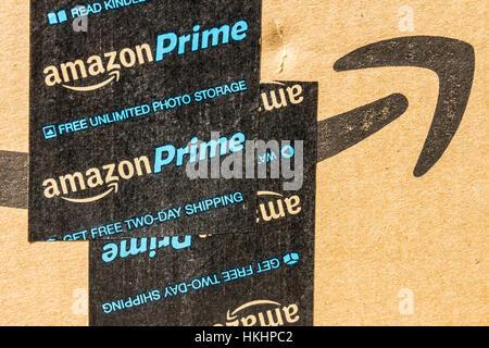 Indianapolis - Circa September 2016: Amazon Prime Parcel Package. Amazon.com is a premier online retailer II - Stock Photo