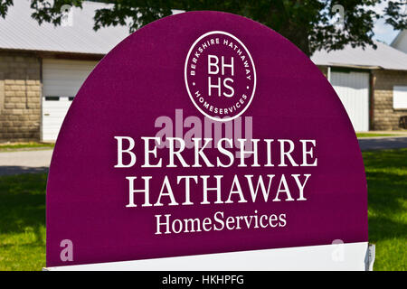 Lafayette, IN - Circa July 2016: Berkshire Hathaway HomeServices Sign. HomeServices is subsidiary of Berkshire Hathaway - Stock Photo