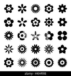 Set of Black Flower Icons Isolated on White - Stock Photo