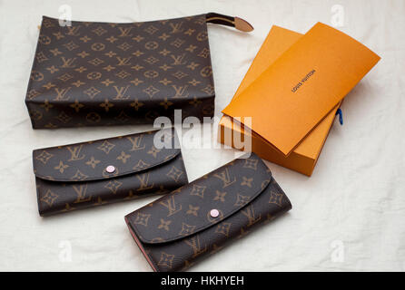 Paris, France, French Luxury Accessories from LVMH Louis Vuitton Store, designer label - Stock Photo
