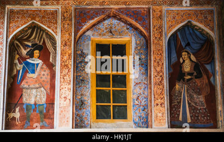 Chini-khana, panel of niches, used for shelving or decoration in the Ali Qapu Palace; Esfahan, Iran - Stock Photo