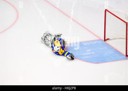 PODOLSK, RUSSIA - JANUARY 14, 2017: Unidentified goalkeeper of Ladoga team of Sledge hockey during game Vityaz vs - Stock Photo