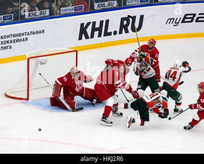 PODOLSK, RUSSIA - JANUARY 14, 2017: Unidentified players by the Vityaz team gate on hockey game Vityaz vs AKBars - Stock Photo