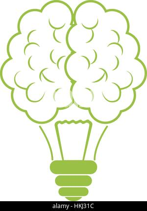 Green brain bulb icon design, vector illustration image - Stock Photo
