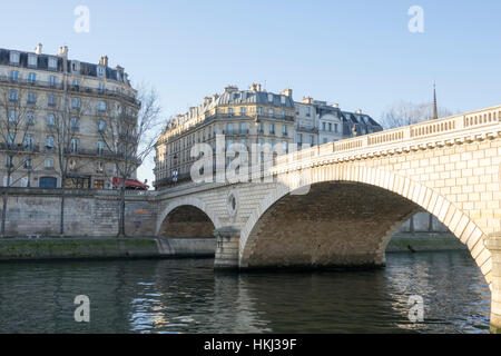 Pont Marie on a sunny winter's day in Paris, France - Stock Photo