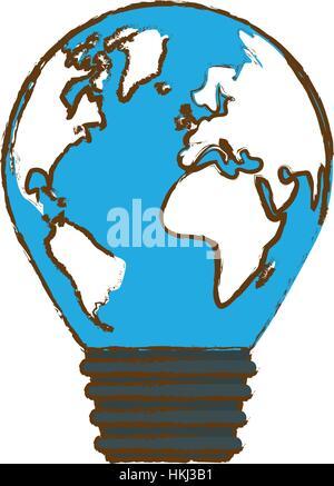Color eco planet bulb design, vector illustration image - Stock Photo