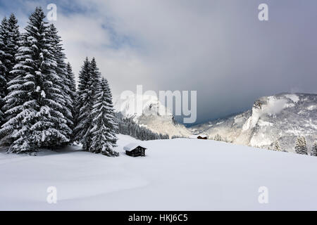 Small country cottage in snowy mountain landscape, peaks of the Kanisfluh at back, Hittisau, Bregenz Forest, Vorarlberg, - Stock Photo