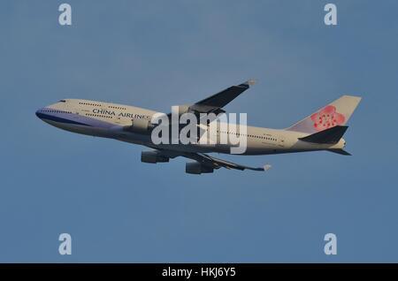 China Airlines Boeing 747-400 taking off at Hong Kong International Airport