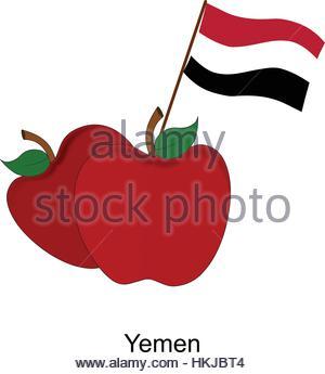 Illustration of Apple, Yemen Flag, Apple with Yemen Flag - Stock Photo