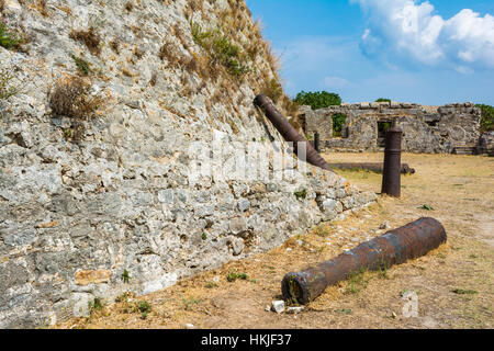 Cannons in the Venetian Castle of Agia Mavra at the Greek island of Lefkada. The original building of the castle - Stock Photo
