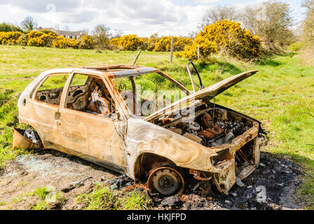 Burned out car in a country lane. - Stock Photo