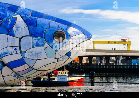 The Big Fish in Belfast. - Stock Photo